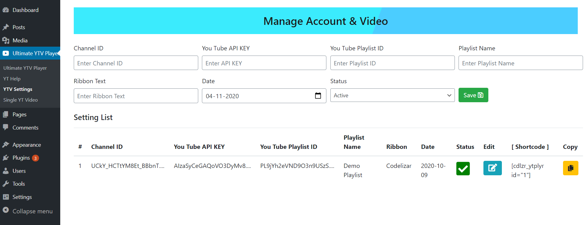 Setting Page - Add API Key & Playlist ID