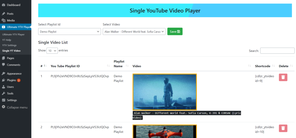 ingle YouTube Video Player Setting Page
